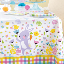 Easter Colourful Plaid Rectangular Plastic Tablecover