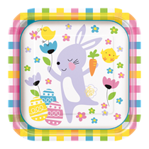 "Easter Colourful Plaid 9"" Square Paper Plates 8pk"