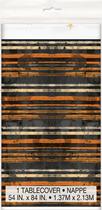 Halloween Orange & Black Striped Plastic Tablecover
