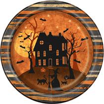 "Halloween Haunted House 9"" Paper Plates 8pk"
