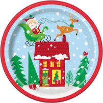 "Christmas Colourful Santa 9"" Paper Plates 8pk"