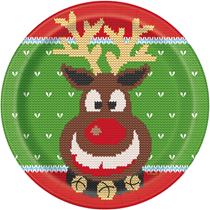 "Christmas Ugly Jumper Reindeer 9"" Plates 8pk"