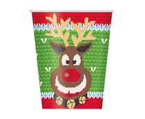 Christmas Ugly Jumper Reindeer Cups 8pk