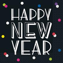 Happy New Year Neon Dots Napkins 16pk