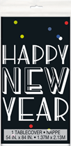 Happy New Year Neon Dots Plastic Tablecover