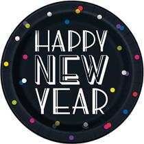 "Happy New Year Neon Dots 9"" Plates 8pk"
