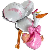 Baby Girl 3D Stock With Baby 5ft Foil Balloon