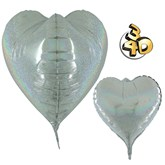"""Holographic Silver 3D Heart 23"""" Foil Balloon"""
