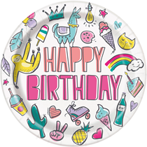 """Favourite Things 23"""" Happy Birthday Paper Plates 8pk"""