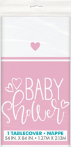 Baby Shower Pink & White Plastic Tablecover