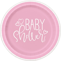 Baby Shower Pink 23cm Paper Plates 8pk