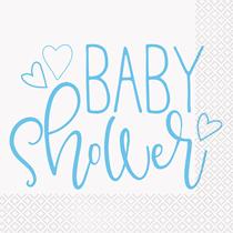 Baby Shower Blue & White Lunch Napkins 16pk