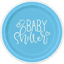 Blue Baby Shower 23cm Paper Plates 8pk