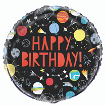 """Happy Birthday Outer Space 18"""" Foil Balloon"""