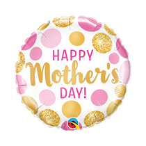 """Happy Mother's Day Gold Dots 9"""" Air Fill Foil Balloon"""