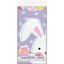 Lilac Easter Bunny Rabbit Chicks Plastic Tablecover