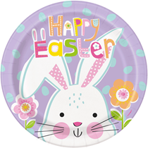 """Lilac Easter Chicks 9"""" Paper Plates 8pk"""