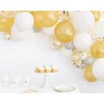 Gold, Silver & White Latex Balloon Arch Kit