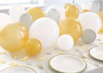 Silver, White & Gold Balloon Centrepiece Kit