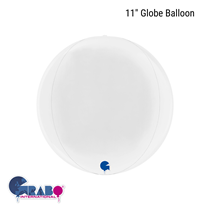 """White 11"""" Globe Foil Balloon"""