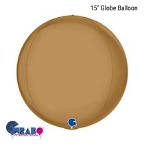 "Platinum Champagne Gold 15"" Globe Foil Balloon"