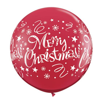 Merry Christmas 3ft Ruby Red Latex Balloons 2pk