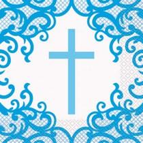 Fancy Blue Cross Luncheon Napkins 16pk