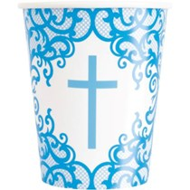 Blue Fancy Cross 9oz Paper Cups 8pk