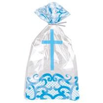 Fancy Blue Cross Cello Bags 20pk