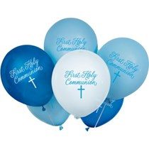"""Blue First Holy Communion 12"""" Latex Balloons 8pk"""