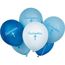 "Blue Cross Confirmation 12"" Latex Balloons 8pk"