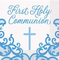 Blue First Holy Communion Luncheon Napkins 16pk