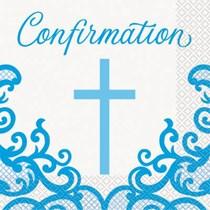 Blue Cross Confirmation Luncheon Napkins 16pk