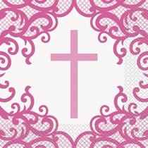Fancy Pink Cross Luncheon Napkins 16pk