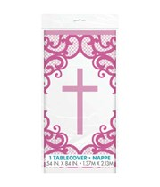 Pink Cross Plastic Tablecover