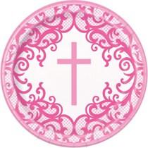 "Pink Cross 9"" Round Paper Plates 8pk"