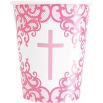 Pink Fancy Cross 9oz Paper Cups 8pk