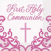 Pink First Holy Communion Luncheon Napkins 16pk