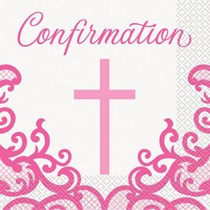 Pink Cross Confirmation Luncheon Napkins 16pk
