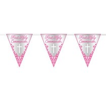 Pink First Holy Communion Foil Flag Banner 9ft