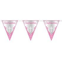 Pink Cross Confirmation Foil Flag Banner 9ft