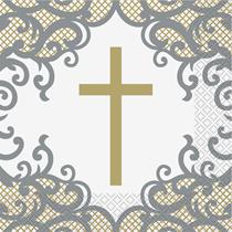 Gold & Silver Cross Luncheon Napkins 16pk