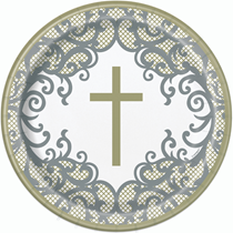 """Gold & Silver Cross 9"""" Round Paper Plates 8pk"""