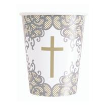 Silver & Gold Fancy Cross 9oz Paper Cups 8pk