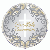 """Gold & Silver First Holy Communion 18"""" Foil Balloon"""
