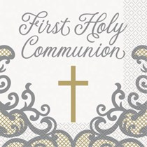 Gold & Silver First Holy Communion Napkins 16pk