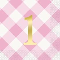 Pink Gingham 1st Birthday Napkins 16pk