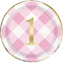 "Pink Gingham 1st Birthday 9"" Paper Plates 8pk"