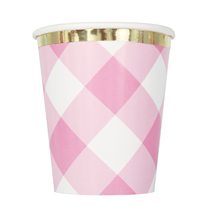 Pink Gingham 9oz Paper Cups 8pk