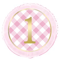 "Pink Gingham 1st Birthday 18"" Foil Balloon"